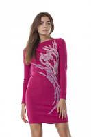 Платье теплое с шерстяной вышивкой, повседневное, молодежное, строгое, яркое малиновое, фото 1