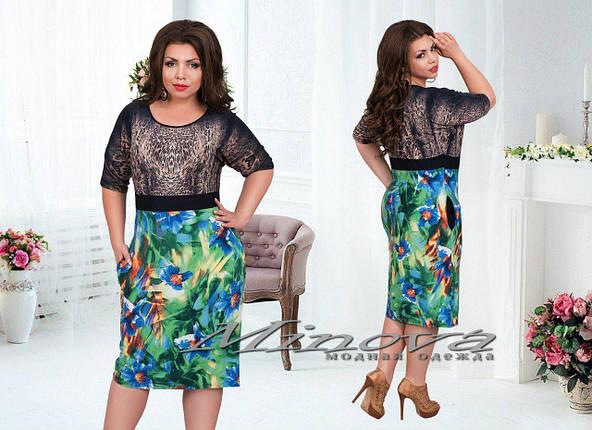 """Красивое женское платье ткань """"Масло"""" 48, 50 размеры батал, фото 2"""