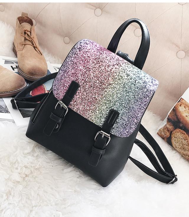 женский рюкзак с блестками черный