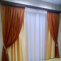 Стильный комплект штор шифон и атлас для зала