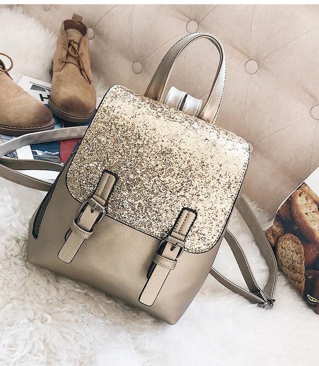 женский рюкзак с блестками золото