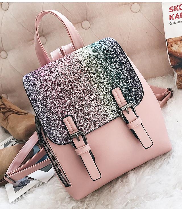 женский рюкзак с блестками розовый