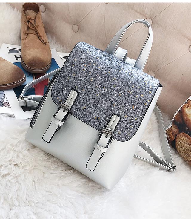 женский рюкзак с блестками серый