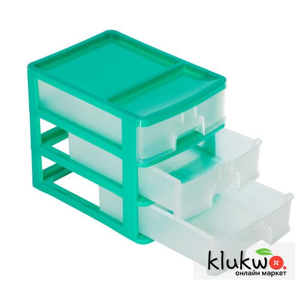 Комод пластиковый, настольный на 3 ящика (А4) Салатовый