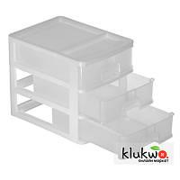 Комод пластиковый, настольный на 3 ящика (А4) Белый