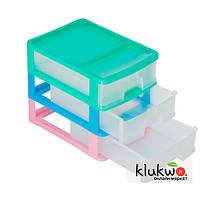 Комод пластиковый, настольный на 3 ящика (А4) Разноцветный