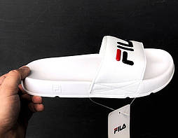 Сланцы Fila Slippers white. Живое фото. Топ качество! (Реплика ААА+)