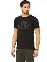 Черная мужская футболка LC Waikiki / ЛС Вайкики с надписью на груди The king