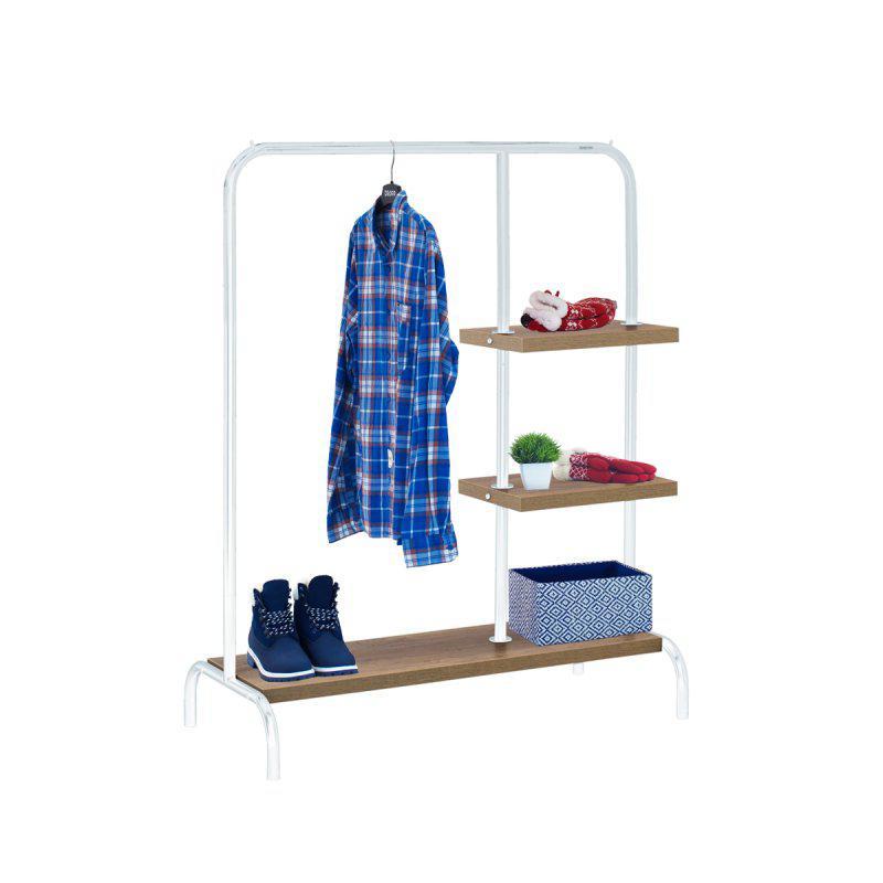 Стойка для одежды Лофт 6 белая (металл/дерево)