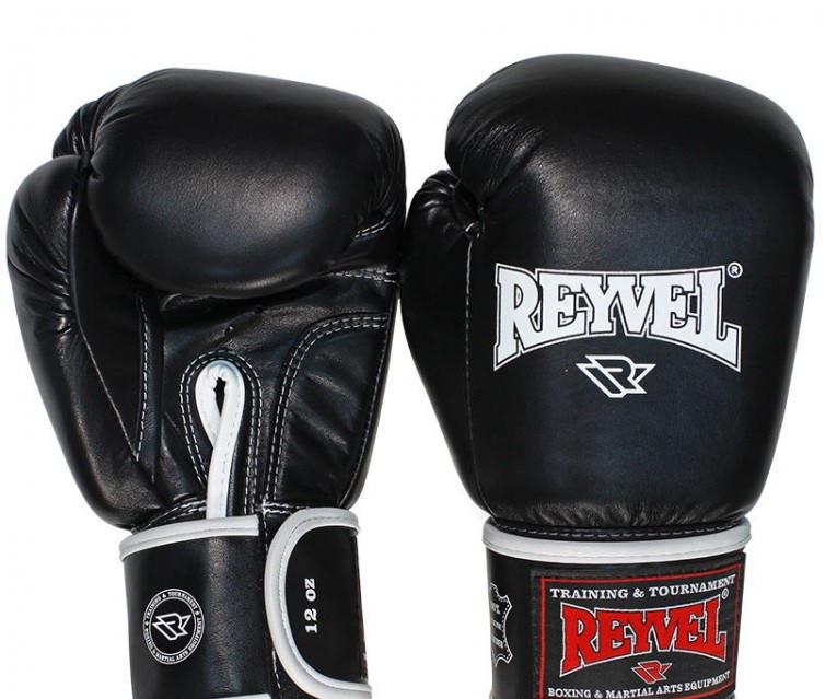 Рукавички для боксу Reyvel 18oz чорні шкіра