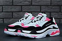 Женские кроссовки Balenciaga Triple S Pink/Black/White (топ качество)