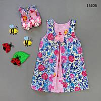 Летнее платье с пинетками для девочки. 12 мес, фото 1