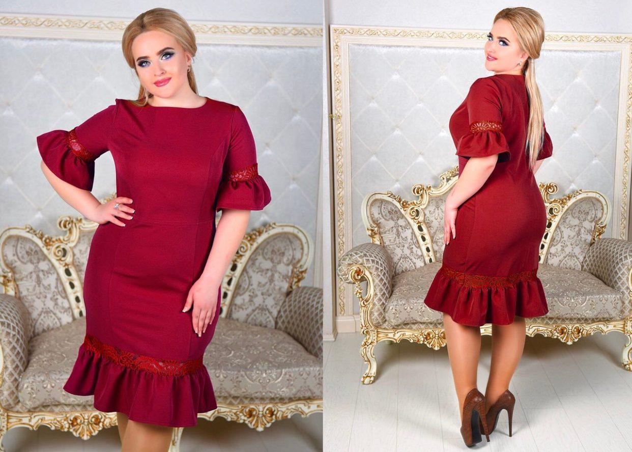 Шикарное женское бордовое платье ткань *Костюмная* 50 размер батал