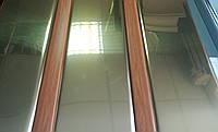 Реечный алюминиевый потолок супер золото со вставкой под дуб, комплект
