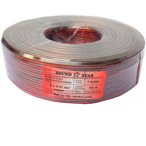 Кабель акустический, медный, 2х0,90мм.кв.,красно-чёрный (коричневый), 100м, Sound Star