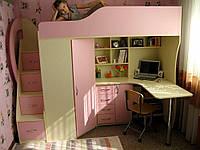 """Кровать чердак для девочки """"Орхидея""""  правая"""