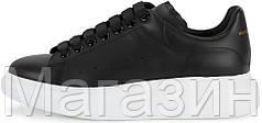 Женские кроссовки Alexander McQueen Leather Black Александр Маккуин черные