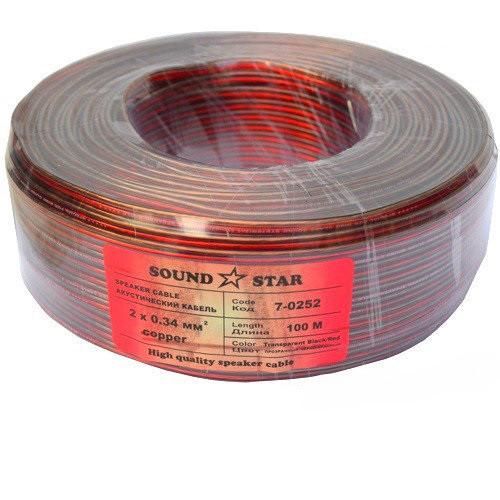 Кабель акустический, медный, 2х0,34мм.кв.,красно-чёрный (коричневый), 100м, Sound Star