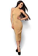 Облегающее золотистое платье миди