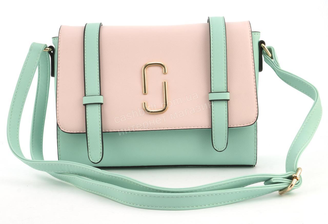 Небольшая вместительная женская каркасная сумочка Little Pigion art. 71062 салатовая/розовая
