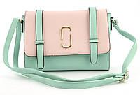 Небольшая вместительная женская каркасная сумочка Little Pigion art. 71062 салатовая/розовая, фото 1