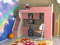 """Кровать чердак для девочки """"Элегант"""" с боковой лестницей"""