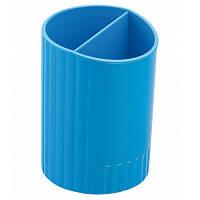 Подставка для ручек круглая на два отделения, синяя, ZB.3000-02