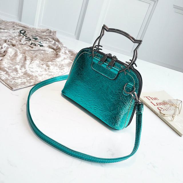 Блестящая мини сумочка бирюзовая