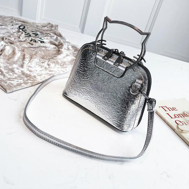 Блестящая мини сумочка серебро