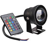 Прожектор светодиодный 10Вт 12В RGB (с оптикой) чёрный