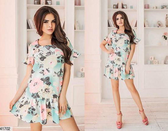 Модное платье короткое с рюшами полуприталенное цветное лен, фото 2