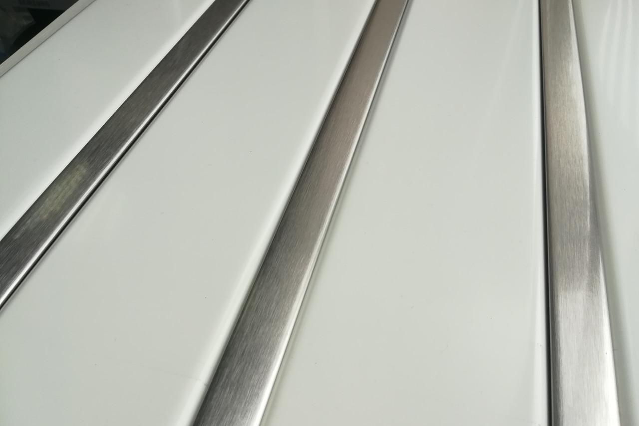 Рейковий алюмінієвий стеля біла вставка під нержавійку, комплект
