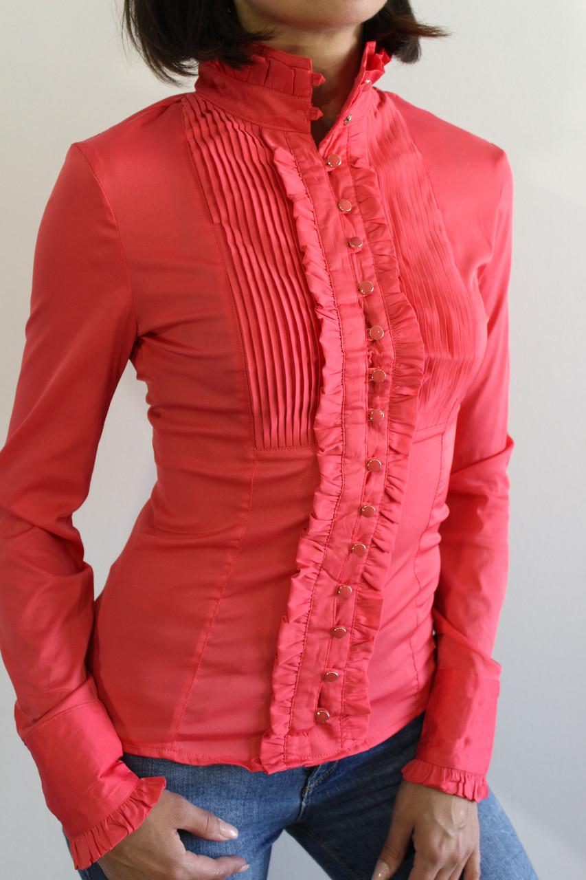Рубашка женская коралловая 20517 ОПТ