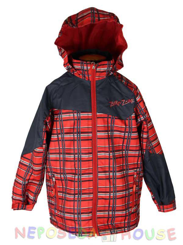 Ветровка  термо для мальчика двойная от 4 до 6 лет на флисе красная