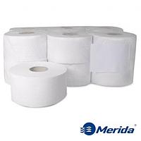 Туалетная бумага Merida Klasik белая однослойная в рулоне джамбо MINI 220 м., Польша