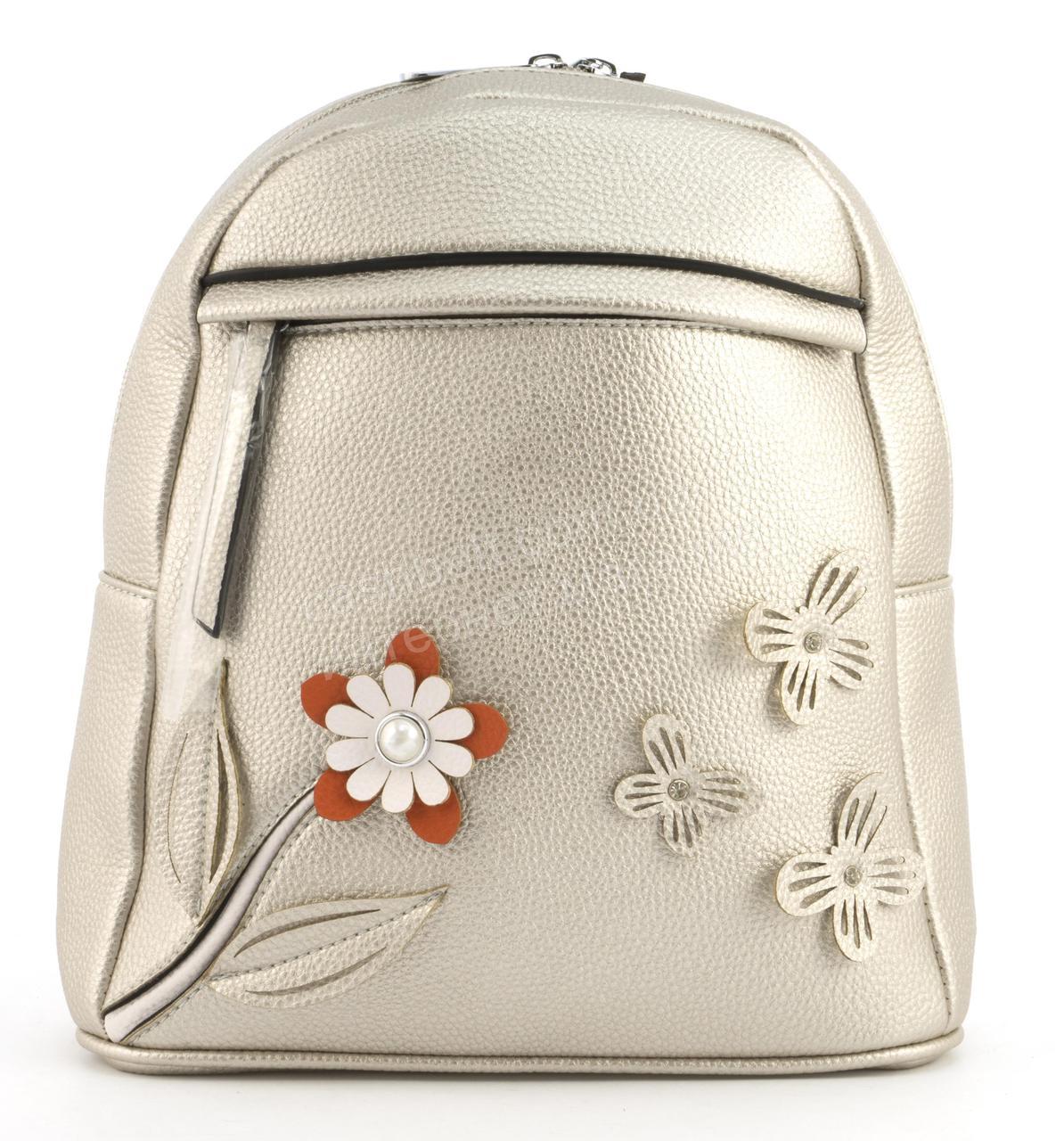 Стильный и качественный оригинальный рюкзак с цветочками Suliya art. GJ71 серебристая