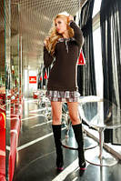 Туника платье теплое ангорка, коричневого цвета, повседневное, молодежное, с рюшами, фото 1