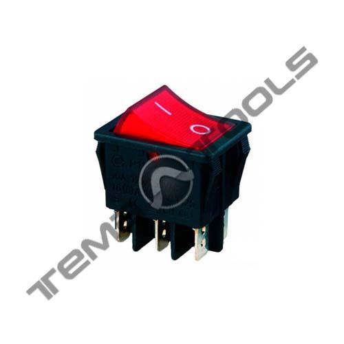 Перемикач 1-клавішний КП-45-І-220В широкий, 6 контактів, ON-OFF або ON-ON з фіксацією
