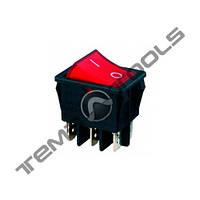 Переключатель 1-клавишный КП-45-И-220В широкий, 6 контактов, ON-OFF или ON-ON с фиксацией
