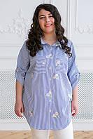 Рубашка с вышивкой Кром р. 54;56 синяя белые цветы, фото 1