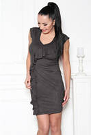 Платье повседневное без рукавов темно серое, строгое, офисное, фото 1