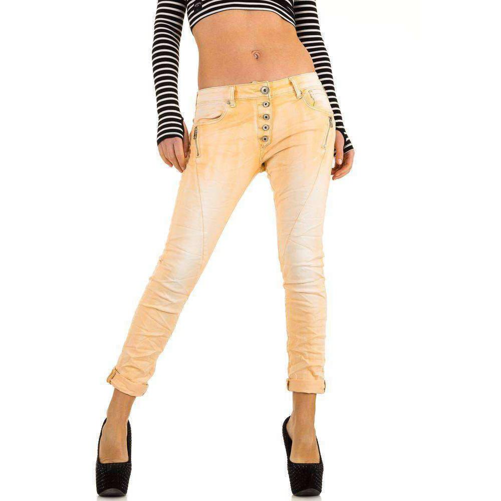 4acee98acd1da Женские джинсы бойфренды скинни с молниями от Mozzaar (Европа) Персиковый