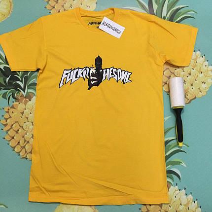 Хлопковая желтая футболка унисекс Fucking awesome, фото 2