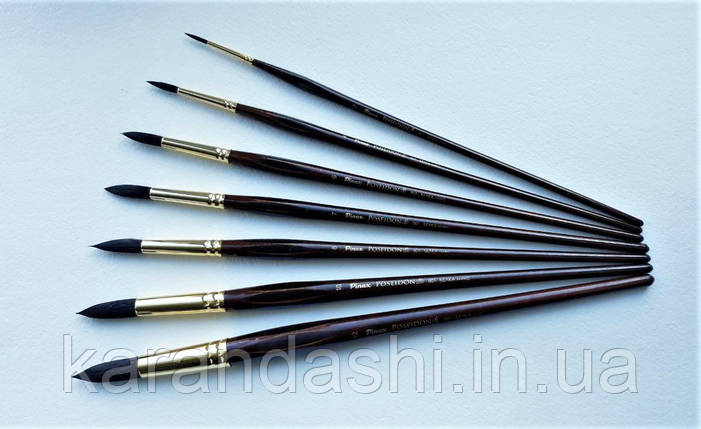 Кисть Pinax Poseidon 801 БЕЛКА микс № 5 круглая длинная ручка, фото 2