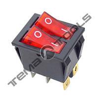Переключатель клавишный (рокерные) 2 КП-53-И-220В широкий, 6 контактов, ON-OFF или ON-ON с фиксацией