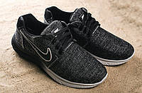 Мужские повседневные черные кроссовки Nike плотный джинс 106290 (Реплика)