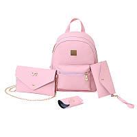 Женский рюкзак розовый набор 4в1 из экокожи опт, фото 1