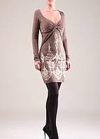 Платье молодежное, платье с вышивкой нарядное, платье теплое с декольте