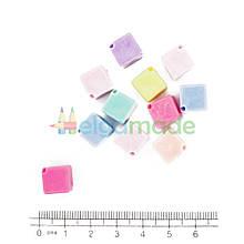 Бусины пластиковые декоративные КУБИКИ, 10 мм, 10 шт, микс