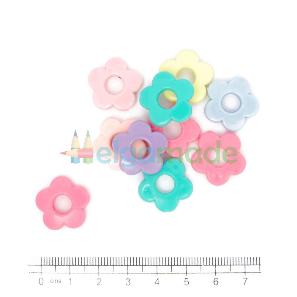 Бусины пластиковые декоративные ЦВЕТОЧКИ, 18 мм, 10 шт, микс